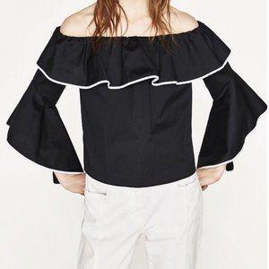 Zara | Poplin top with frilled sleeves